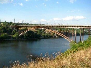 Днепр. Мост с правого берега на Хортицу.