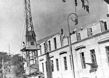Послевоенное восстановление главного корпуса Запорожского автомеханического института.