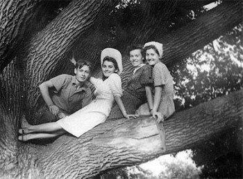 1953 год. Воспитатель пионерлагеря Татьяна Кузнецова (на фото она вторая слева) с пионервожатыми на Запорожском дубе.