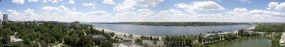 Красивая панорама с видом на Днепр и о. Хортицу