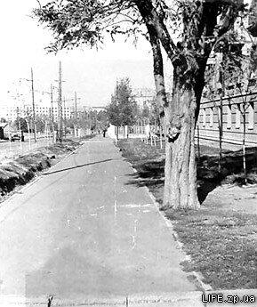 Начало 60-х годов. Улица Панфиловцев (вид со стороны улицы Правды в сторону проспекта Ленина).