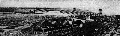 Тело плотины было взорвано советскими войсками при отступлении в 1941 году