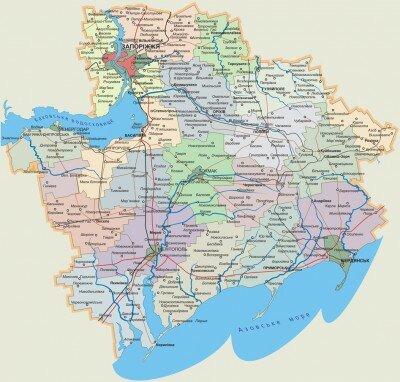 Современная карта Запорожской области