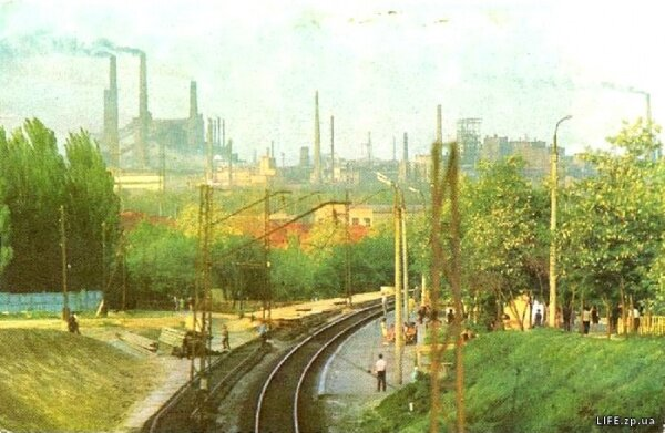 Вид на металлургический комбинат «Запорожсталь», 1977 год