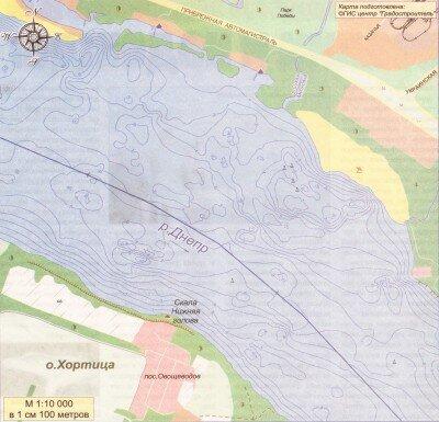 Глубинная карта реки Днепр (топографическая карта)