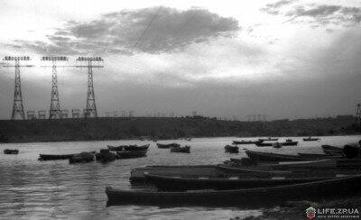 Река Днепр и остров Хортица, вечер, лето 1954 года.