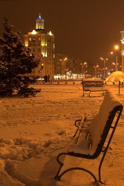 Ночное Запорожье зимой 2013 года