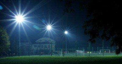 Футбольное поле Металлург ночью