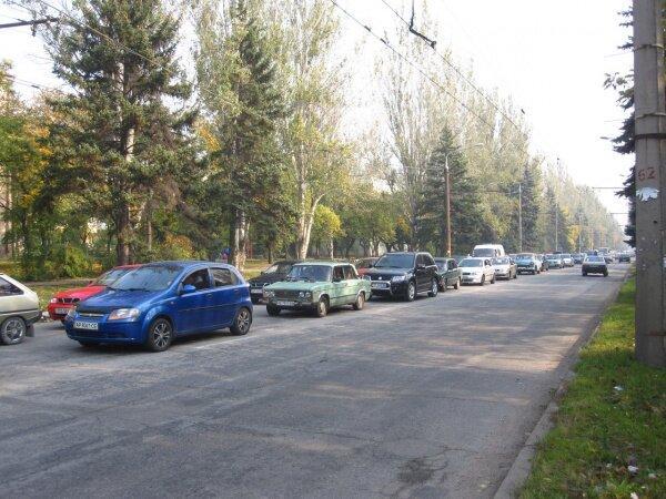 Огромные пробки на реконструкцию боя за освобождение Запорожья