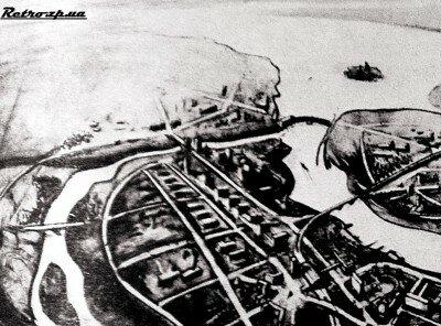 Перспектива застройки Северной части острова Хортица жилыми домами, 1930 год.