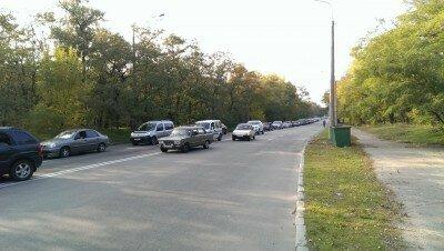 Автомобильная пробка через весь остров Хортица. 13.10.2013