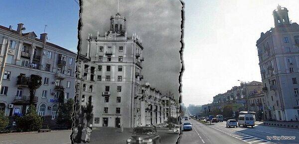 Сравнение проспекта Ленина в советское время и в наши дни