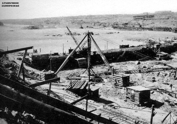Работы в котловане ДнепроГЭС конец 20-х, начало 30-х годов