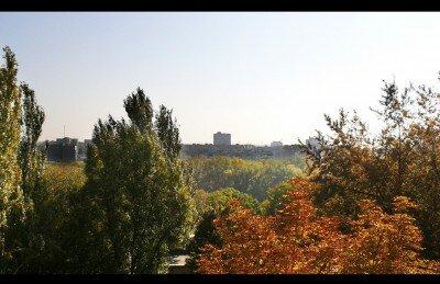 Вид с 5 городской больницы на парк Победы
