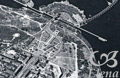 Вид со спутника, 1965 год. Еще нет второго шлюза, эстакадного моста-дуги, как и дороги к нему с проспекта