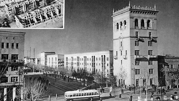 Воскресший из руин Соцгород, 50-е. Воскресший из руин Соцгород. 50-е. В верхнем углу - дома Шестого поселка после освобождения города.