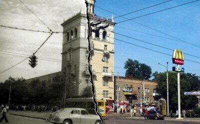Фотоколлаж каким был проспект Ленина раньше и сейчас