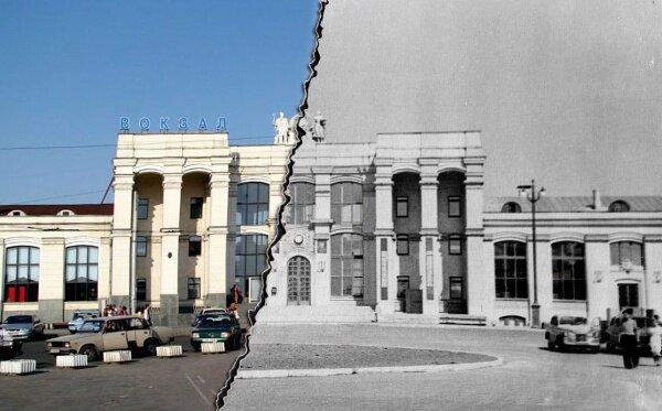 Здание ж/д вокзала Запорожье-1 ввели в эксплуатацию в 1954 году (фото 1953 года)