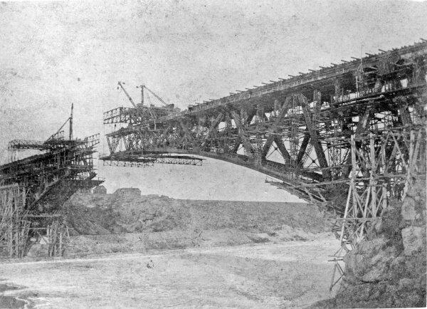 Строительство моста через Днепр (Кичкасский мост) - 1920 год.
