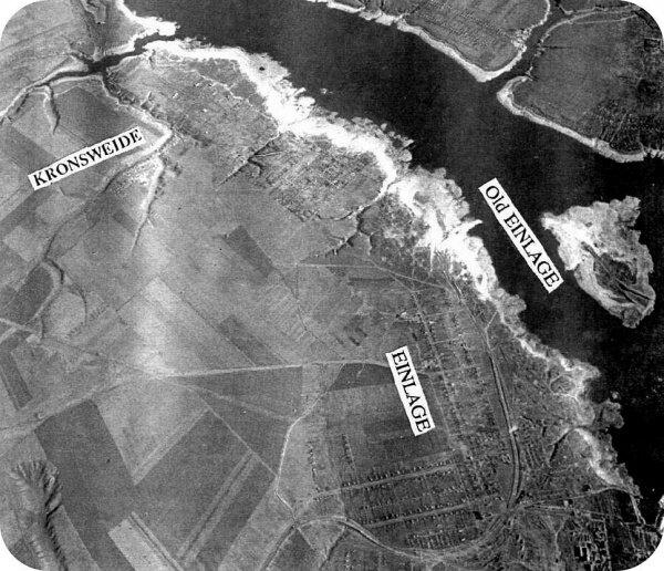 Аэрофотосъемка после взрыва плотины ДнепроГЭС, 40-е года