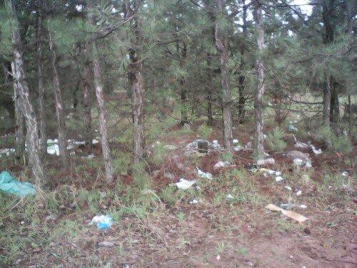 Горы мусора за гипермаркетом Ашан