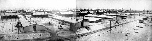 Панорама одиного из поселков Днепростроя на правом берегу Днепра в 30-е года