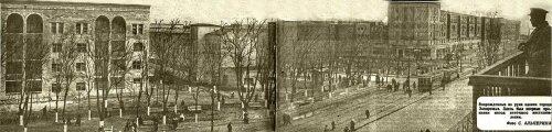 Перекресток современных проспектов Ленина и Металлургов без привычной башни на углу