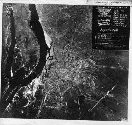 Карта Запорожья в 40-е годы (1944 год)