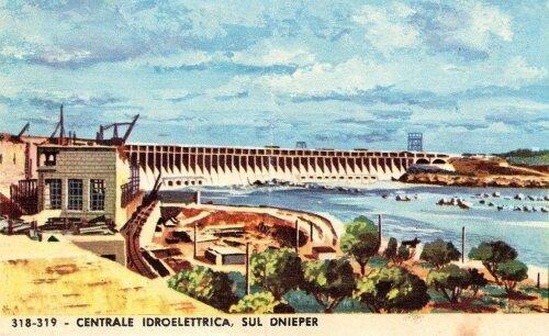 Картина: плотина ДнепроГЭС, 1965 год