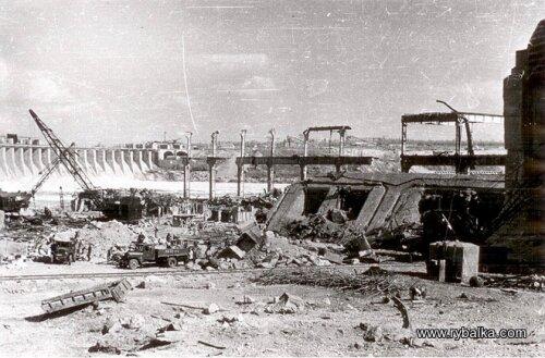 Восстановительная работа ДнепроГЭС, 1944 год (40-е годы)
