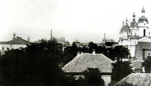 Вид на Старый Александровск, со стороны Днепра. Вдаль уходит улица Покровская (ныне Свердлова).