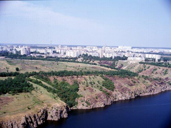 Вид на Хортицкий микрорайон (Бабурка) с высоты птичьего полета