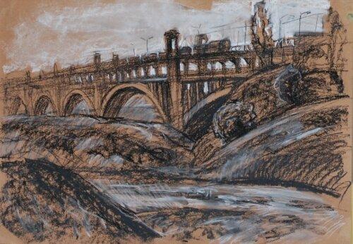 Работа пастелью:  Мост Преображенского