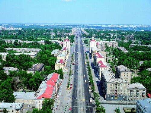 Вид на Проспект Ленина с высоты птичьего полета