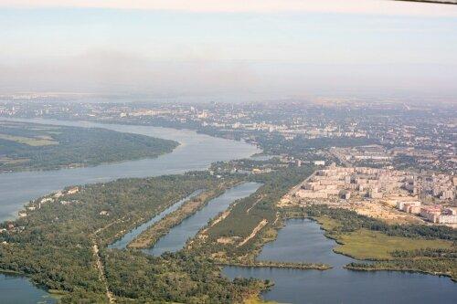 Рекреационная зона Запорожья и Южный микрорайон с высоты